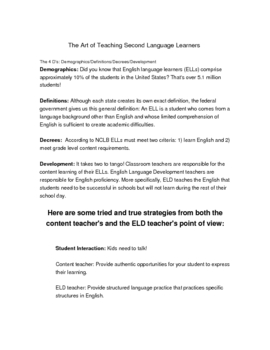 The Art of Teaching Second Language Learners - Math Games