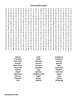 The Arthropods Vocabulary Word Search for Zoology