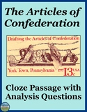The Articles of Confederation Cloze Passage and Review Questions