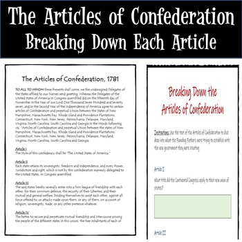 Articles of Confederation Lesson - Paper AND Google Drive Versions!