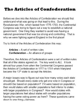The Articles of Confederation, Federalists & Antifederalists, & the Constitution
