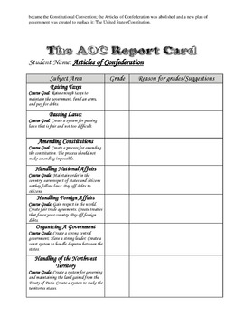 The Articles of Confederation Report Card