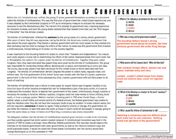 The Articles of Confederation: Why did it fail?  A Close Reading Assignment!