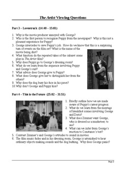 The Artist Film (2011) Detailed Viewing Questions (with answers)