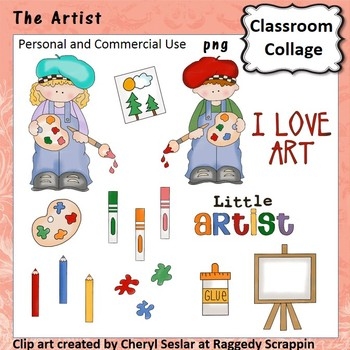 The Artist - Color - personal & commercial use easel markers paint pencils glue
