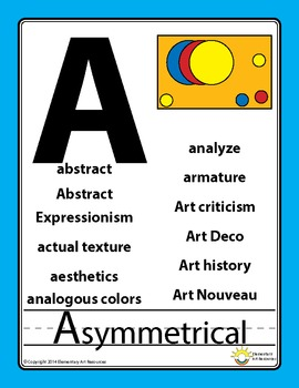 Art Word Wall Artist Alphabet Vocabulary Poster Elementary Art Education