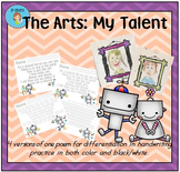 """The Arts - My Talent"" Handwriting Practice"