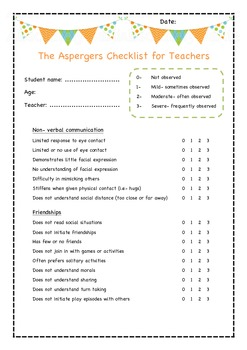 The Aspergers checklist for teachers