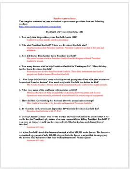 The Assassination and Death of President Garfield Worksheet (Primary Source)