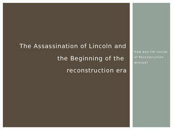 The Assassination of Lincoln and the beginning of the Reconstruction Era