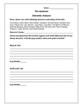 The Assistant- Character Analysis Activity - Bernard Malamud