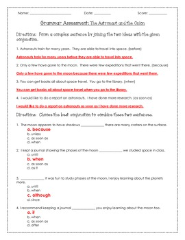 The Astronaut and the Onion Vocabulary and Grammar Assessment