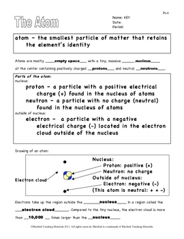 The Atom: Notes (Atoms, Protons, Neutrons, Electrons, Isotopes) Pt-6