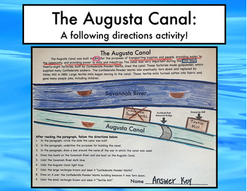 The Augusta Canal: A Following Directions Activity