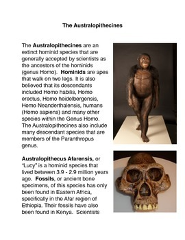 The Australopithecines Common Core Activity