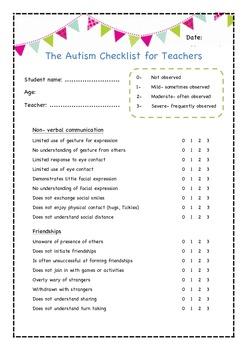 The Autism Checklist for Teachers