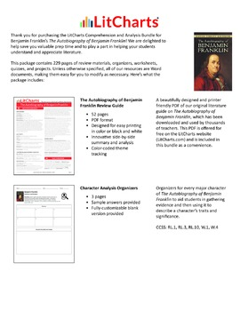 The Autobiography of Benjamin Franklin – Comprehension and Analysis Bundle