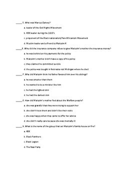The Autobiography of Malcolm X Summative Assessment for Chapters 1-13