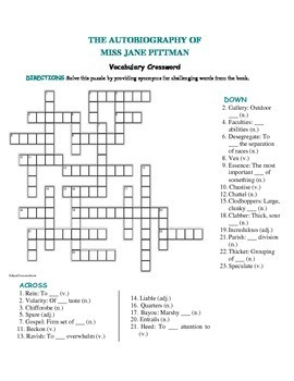 The Autobiography of Miss Jane Pittman:  Vocabulary Crossword