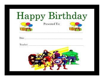 The Avengers Birthday Certificates (Includes 6 Certificates)