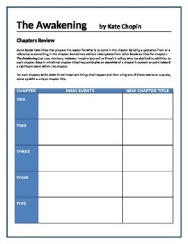 The Awakening - Chapters review activity