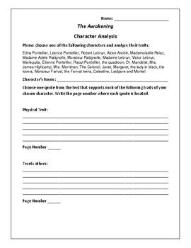 The Awakening Character Analysis Activity - Kate Chopin