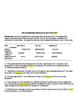 The Awakening Vocabulary List One QUIZ