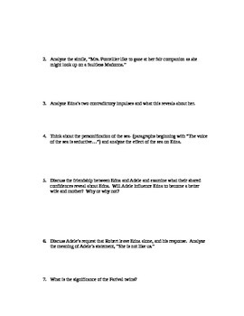 The Awakening by Kate Chopin Comprehension Questions