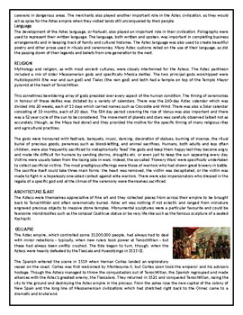 The Aztec Civilization - Reading Comprehension Text #GoogleExpeditions