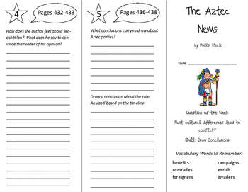 The Aztec News Trifold - Reading Street 6th Grade Unit 6 Week 4