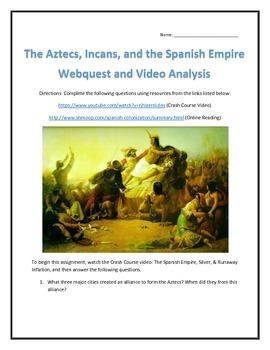 The Aztecs, Incans, and the Spanish Empire- Webquest and V