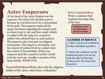 The Aztecs Reading Activities