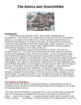 The Aztecs and Tenochtitlán worksheet