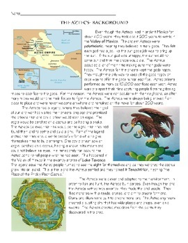 The Aztecs background, daily life, fall- 3 articles, questions, timeline, gods