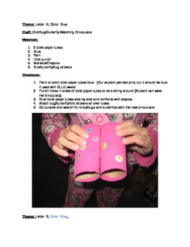 "The ""B"" says ""buh"": Lesson Plan/Binocular Craft/Pre-K Lesson Plan/Activities"