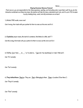 The BEST Grammar Worksheet (2-Day Lesson): Slaying Grammar Demons Forever!