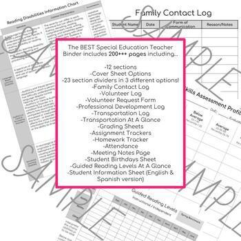 The BEST Special Education Teacher Binder * EDITABLE * FREE updates for life * *