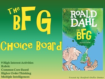 The BFG Choice Board Novel Study Activities Menu Book Project Rubric