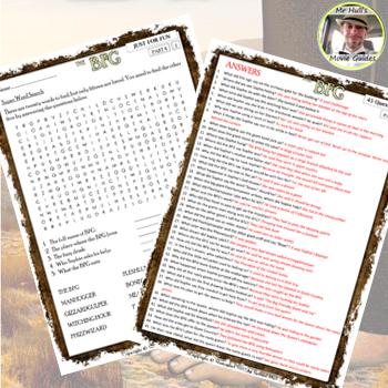 The BFG Movie Guide + Activities (Color + B/W) - Answer Keys Included