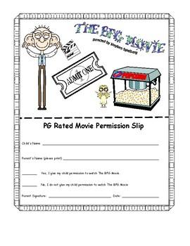 The BFG Movie Permission Slip for PG movie