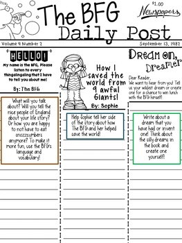 The BFG - Newspaper Writing Activity - W.3.3 and W.3.3b - Reading Comprehension