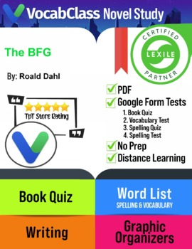 The BFG by Roald Dahl Novel Study Guide Includes Tests   Vocabulary   Games ++
