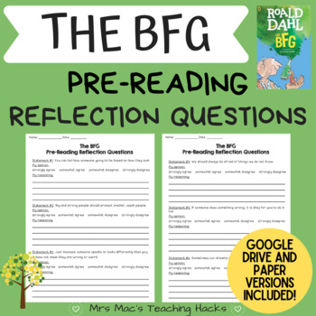 The BFG Pre-Reading Reflection Questions