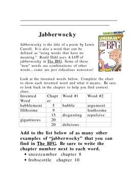 The BFG Reading Response Packet