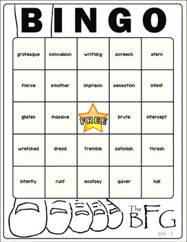 The BFG Vocabulary Bingo