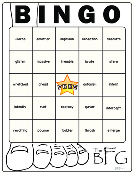 The BFG Vocabulary Bingo