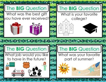 Back to School Ice Breaker - The BIG Question