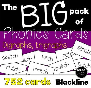 The BIG pack of phonics cards Digraphs and Trigraphs