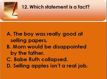 The Babe and I - Multiple Choice Test for PPT