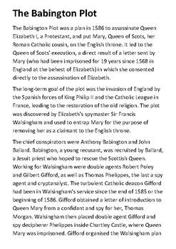 The Babington Plot Handout